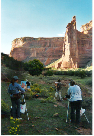 Image: Painting in Canyon de Chelly; Image: Taos Art School, Canyon de Chelly Expedition, tour, painting, photography, mesa verde, tours, navajo, guided tours, horses, jeep, native american, indian, pueblo, ancient, anasazi ruins